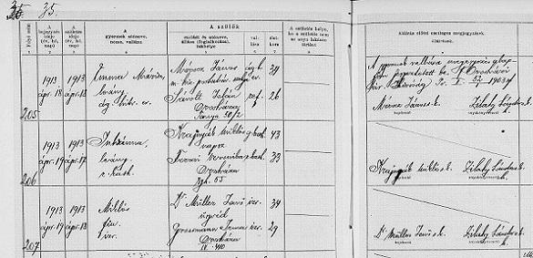 Müller-Miklós-születési-anyakönyv